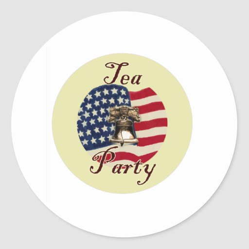 Liberty Bell and Flag Tea Party Round Stickers