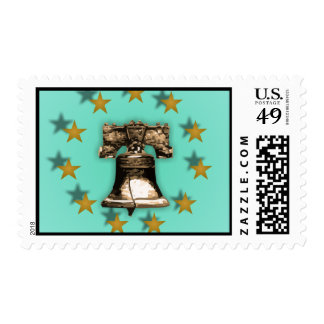 Liberty Bell and Gold Stars Postage Stamp