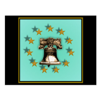Liberty Bell and Gold Stars Postcard