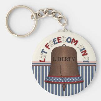 Liberty Bell on Stripe Basic Round Button Keychain