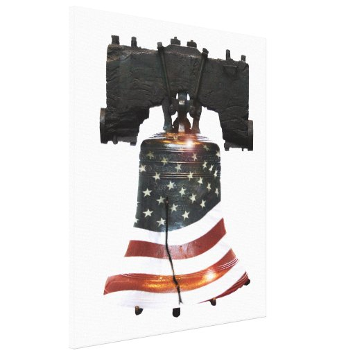 Liberty Bell w/American Flag Canvas Print