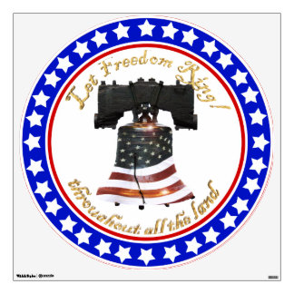 Liberty Bell w/American Flag - Let Freedom Ring Wall Decal