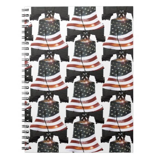 Liberty Bell w/American Flag - Pattern Spiral Notebook