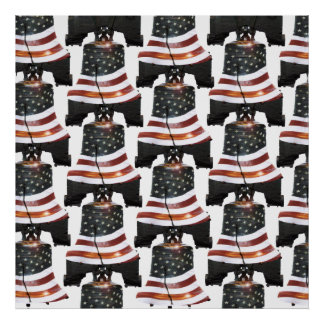 Liberty Bell w/American Flag - Pattern Poster
