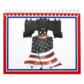 Liberty Bell with American Flag Calendar