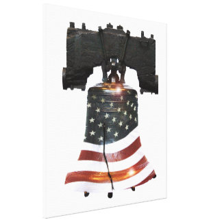 Liberty Bell with American Flag Canvas Print