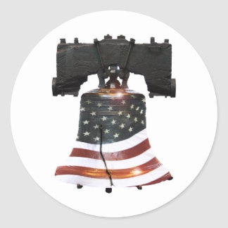 Liberty Bell with American Flag Classic Round Sticker