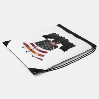 Liberty Bell with American Flag Drawstring Bag