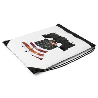Liberty Bell with American Flag Drawstring Bag