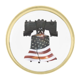 Liberty Bell with American Flag Gold Finish Lapel Pin