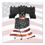 Liberty Bell with American Flag 5.25x5.25 Square Paper Invitation Card
