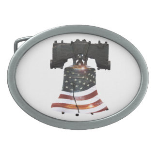 Liberty Bell with American Flag Oval Belt Buckle