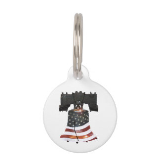 Liberty Bell with American Flag Pet Name Tag