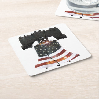 Liberty Bell with American Flag Square Paper Coaster
