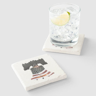 Liberty Bell with American Flag Stone Coaster