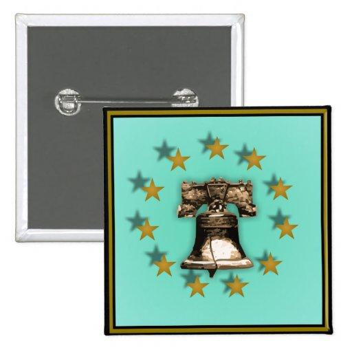Liberty Bell y estrellas del oro Pin Cuadrada 5 Cm
