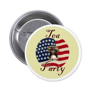 Liberty Bell y fiesta del té de la bandera Pin