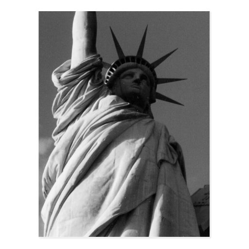 liberty black & white statue postcard