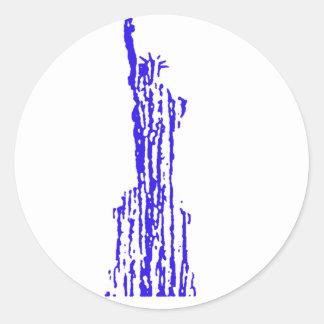 Liberty blue streak round sticker