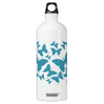 Liberty Bottlewith butterfly pattern in light blue Aluminum Water Bottle