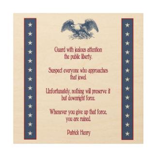 liberty eagle rustic wood plaque  Patrick Henry Wood Wall Art