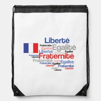 Liberty Equality Fraternity French Bastille Day Drawstring Backpack