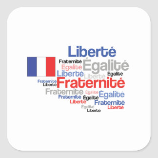 Liberty Equality Fraternity French Bastille Day Square Sticker