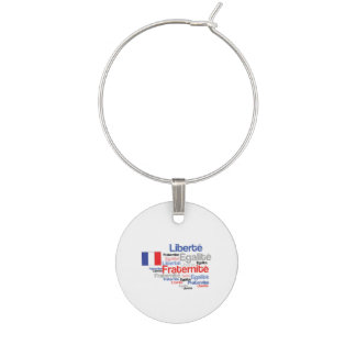 Liberty Equality Fraternity French Bastille Day Wine Charm