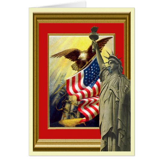 Liberty, flag; stars and stripes card