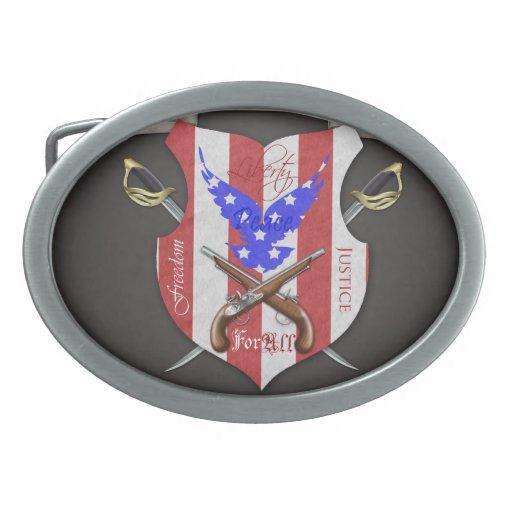 Liberty For All Patriotic Flag & Sword Belt Buckle