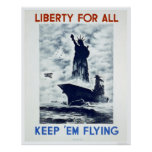 Liberty For All WWII 1942 WPA Posters
