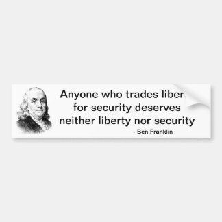 Liberty for Security Bumper Sticker