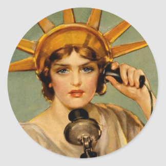 "Liberty Girl - ""Call Me"" Classic Round Sticker"