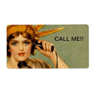 "Liberty Girl ""Call Me"" Label"