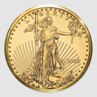 Liberty Gold Bullion Coin (pack of 6/20) Classic Round Sticker