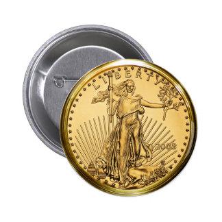 Liberty Gold Bullion Coin Pinback Button