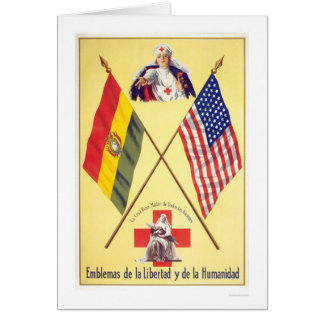 Liberty Humanity Bolivia Red Cross WPA Greeting Card