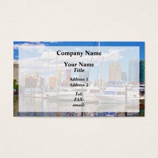 Liberty Landing Marina Against Jersey City Skyline Business Card