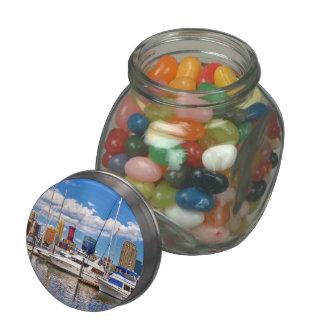 Liberty Landing Marina Against Jersey City Skyline Glass Jars