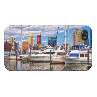 Liberty Landing Marina Against Jersey City Skyline iPhone 4/4S Cases