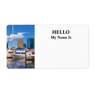 Liberty Landing Marina Against Jersey City Skyline Label