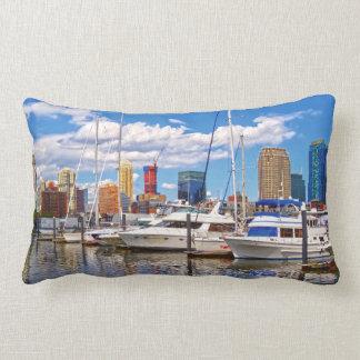 Liberty Landing Marina Against Jersey City Skyline Lumbar Pillow