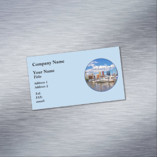 Liberty Landing Marina Against Jersey City Skyline Magnetic Business Card