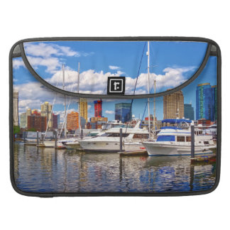 Liberty Landing Marina Against Jersey City Skyline Sleeve For MacBook Pro