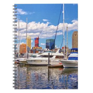 Liberty Landing Marina Against Jersey City Skyline Spiral Notebook
