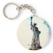 Liberty New York City Travel Love Watercolor Keychain