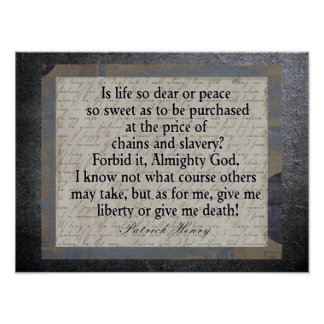 Liberty Or Death - American Revolution quote Poster