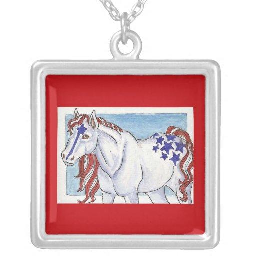 Liberty Patriotic Horse Custom Necklace
