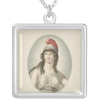Liberty, Patron of the French, engraved by Ruotte Square Pendant Necklace
