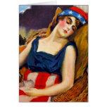 Liberty Sleeps America USA Vintage Retro Kitsch Card
